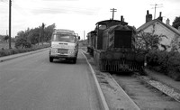 D22xx on Wisbech & Upwell tramway alongside Commer lorry of 'Marriage's Colchester & Felixstowe' ICA D213