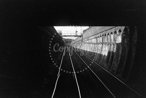 View from cab climbing out of Dock Street Tunnel Dundee lkg north NF297-28
