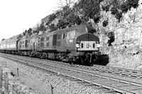 D6134 & D6114 (RF) Dheading Glasgow-Dundee tn east of Ninewells Jct mid-1960s (very minor motion blur) GCB610