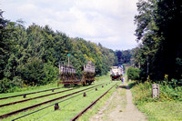 JMT23784 - Poland    at Buczyniec - 05-09-2001 - Inclined plane on Elblag to Ostroda canal-'trains' pass  - John Tolson