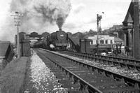 45505 'The Royal Army Ordnance Corps' (RF) tn 6.45pm rtn half-day excursion to Whaley Bridge lvg Ilkley and crossing Brook St bridge (bridge removed 10-66) 3-1-66 F W Smith 621