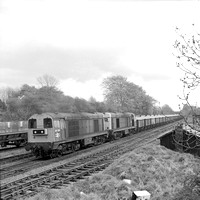 20190 20173 at Snibston Colliery Sidings, Coalville  in 1983 - Departing westbound double-headed stone train ex-Cliffe Hill (Tarmac) -  120583 HG1257