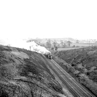 9am Liverpool-Newcastle approaching Arthington distant signal 18-1-58 MM448