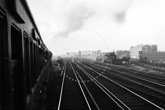 View from train on spur from SER to ELR at New Cross 29.3.58 AEB2918