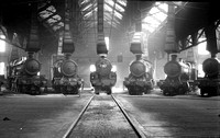 Tyseley roundhouse interior view with 6 locos incl 2916, 6323 & LMS Crab 17/5/36