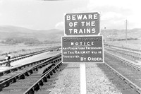 Cambrian Railways cast-iron Beware of Trains, and Trespass notices at Dovey Junction 5/9/58