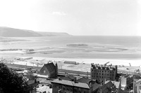 View of Aberystwyth from the hill showing railway tracks along the coast 9/9/58