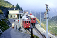 BW1 - Switzerland    at Schynige Platte Bahn Terminus - Sep.1971 - Crowded with trains  - Brian Walker